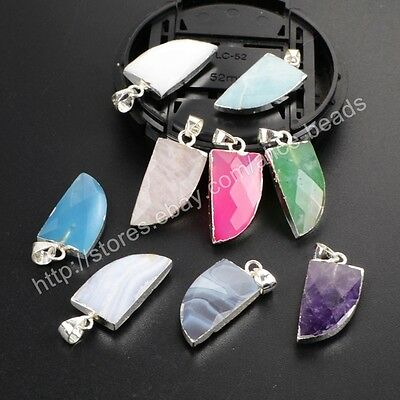 1Pcs 925 Sterling Silver Cute Horn Multi-Kind Stone Faceted Gems Pendant HSS160