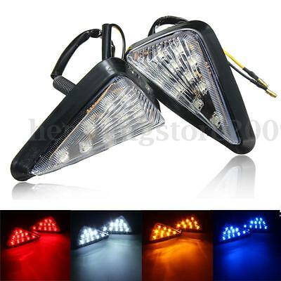 2X Motorcycle Clear Flush Mount Turn Signal LED Lamp Light Indicator Red Amber T