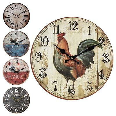 Hometime MDF Rustic Shabby Chic Round Sentiment 30cm Wall Clock Home/Family
