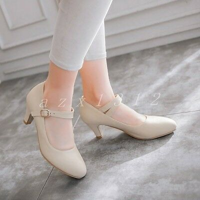 Plus Size Sweet Womens Casual Mary Jane Strap Mid Heel Pumps Kitten Vogue Shoes