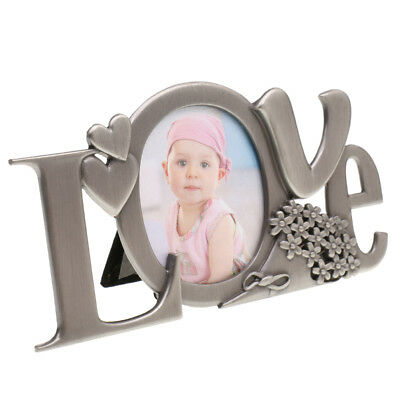 Antique Silver Love Photo Frame Home Decor Kids Baby Gift Freestanding