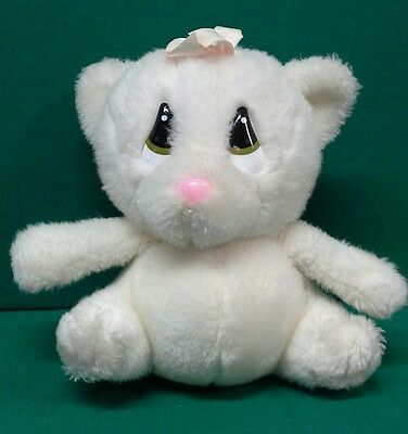 White Kitten Plush with Big Green Eyes by Applause with beautiful bow