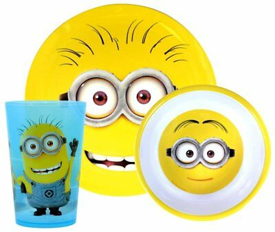 Despicable Me Minions 3 Piece Melamine Dinnerware Set Cup Plate Bowl New Gift