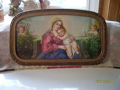 Beautiful antique print and frame, religious with Madonna & angels, ornate frame