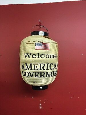 "Vintage Japanese Paper Lantern ~ ""Welcome American Governors"" As Found"