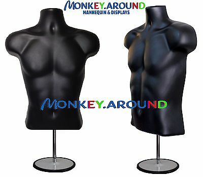 Male Mannequin Dress Torso Body Black Form +1 Stand + 1 Hanger Display Clothing