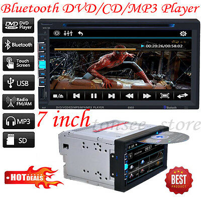 """7"""" TFT 2Din Bluetooth Touch Screen Car CD/DVD FM Radio MP3 MP5 Player US STOCK"""