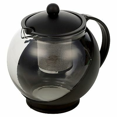 Black 1.25 Litre Glass Infusion Tea Coffee Herbal Filter Pot Infuser With Handle