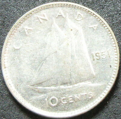 1951 Canada Silver Ten Cent Coin