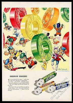 1943 Walt Disney Gremlin gremins color art Life Savers Candy vintage print ad