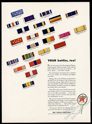 1943 US Army Navy Medal of Honor etc campaign ribbon photo Texaco print ad