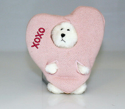 Boyds Bears Plush 2005 White Bear Pink Heart Peeker - #567953-3