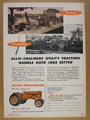 1959 Allis-Chalmers D-14 & 17 Tractors trenching backfilling vintage print Ad