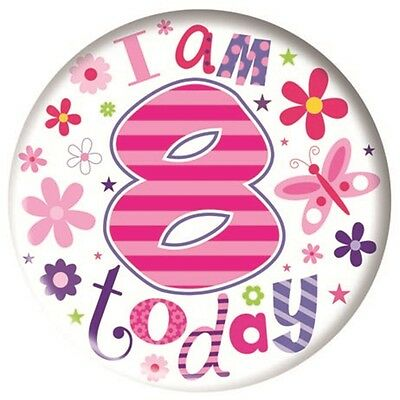 Simon Elvin Giant Badge - Age 8 - Birthday 15cm Girl Happy Party Favor Badges