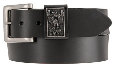 Harley-Davidson Men's Eagle Rider Genuine Leather Belt, Black HDMBT11207-BLK