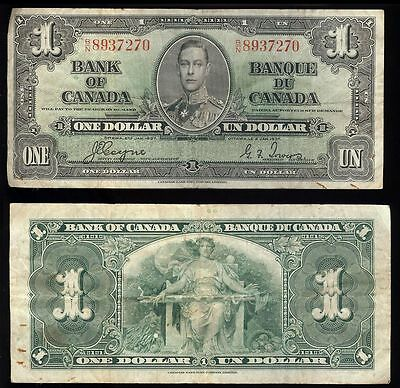 Canada P-058e Bank of Canada, Ottawa 1 Dollar B/N, 2nd Jan. 1937  F/VF