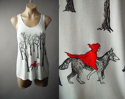 Little Red Riding Hood Wolf Gothic Fairy Tale White Tank Top 219 mv Shirt S M L