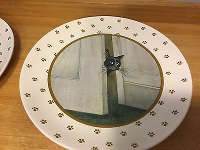"Vintage Vandor 8"" Luncheon Plate 1984 Lowell Herrero Japan black cat  paws"