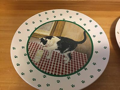 "Vintage Vandor 8"" Luncheon Plate Black White Cat Milk 1984 Lowell Herrero Paws"