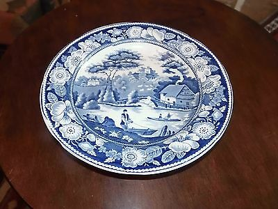 """Antique Staffordshire ? Blue & White Transfer Plate 7 1/2"""" Men in Boats Cottage"""