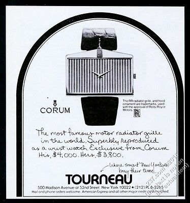 1977 Corum Rolls-Royce car grille watch photo vintage print ad