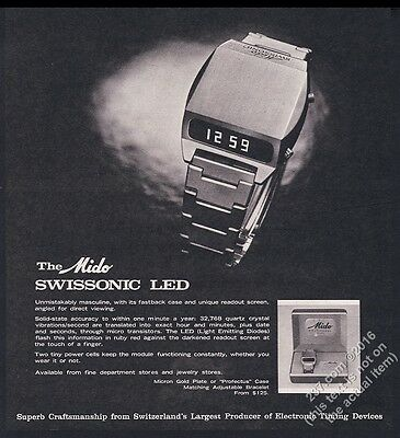1975 Mido Swissonic LED digital watch photo vintage print ad