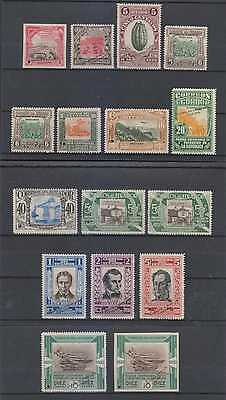 "ECUADOR 1930 INDEPENDENCE Sc 304-316 (16x) PERF PROOFS UNISSUED COLOR ""SPECIMEN"""