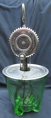 1920's Green Depression Glass Measuring Cup Bowl Patent Applied & AJ Egg Beater