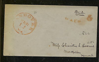 US  Andover , Ms stampless  cover to  Vermont             KEL09131