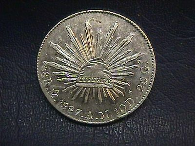1897 Mo AM Mexico 8 Reales Silver Coin KM#377.10. FREE SHIPPING.
