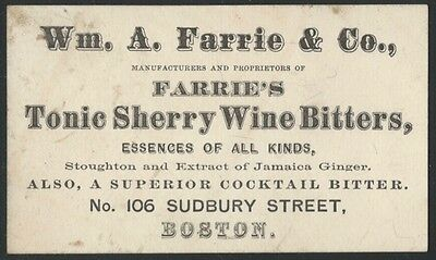 1873 Boston Farrie's Tonic Sherry Wine Bitters Maker Card - Cocktail Bitters &c