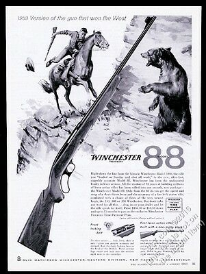1959 Winchester 88 rifle man and bear art vintage print ad