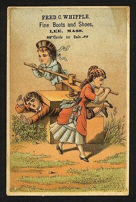 LEE MASSACHUSETTS Fred Whipple Boots and Shoes Trade Card 1880s CHILDREN Playing