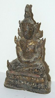 LATE 19th C. THAI GILTBRONZE STATUE - SEATED BUDDHA 15