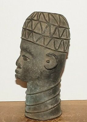 Beautiful And Old Bronze Statue Of A Male Figure Head - From Benin