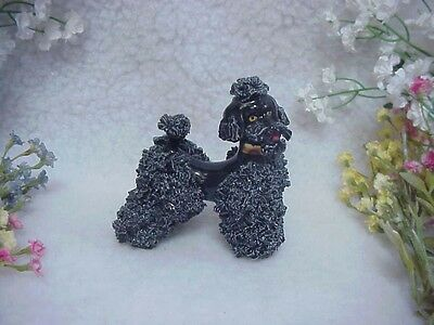 Little Black Spaghetti Poodle Wearing A Shiny Gold Collar~4 Inches High