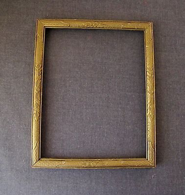 Antique 1930's  Art Deco Decorated With Flowers Golden Wooden Picture Frame