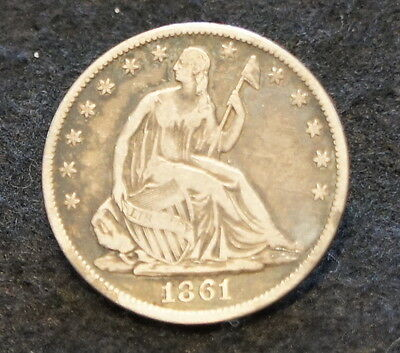 1861O Seated Liberty Half Dollar in F Condition 90% SILVER NICE Old Collectible