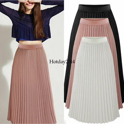 Women Skirt Pleated Maxi Long Skirt Elastic WaistBand Belt Chiffon Dress Skirt