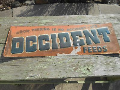 Vintage Old Original OCCIDENT FEEDS Farm Seed Advertising Tin Embossed SIGN