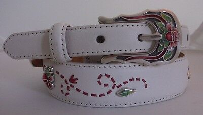 Tony Lama New White Floral Concho Weave Taper Leather Belt  Size 28  NEW  C50342