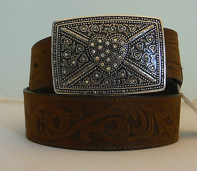 Tony Lama New Tooled Brown Leather Belt Heart Buckle Size 34 Made in USA  C50409
