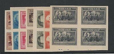 1947 Poland Culture imperf. SG 580/93 B seven values muh in block four