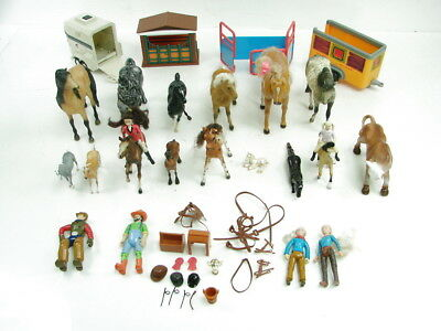 Large Childrens Toy Lot Horses Western Action Figurines Stables Animal Trailers