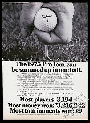 1976 Titleist 1 gold ball tee up photo vintage print ad