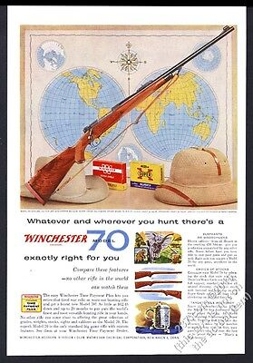 1956 Winchester model 70 African 458 magnum rifle photo vintage print ad