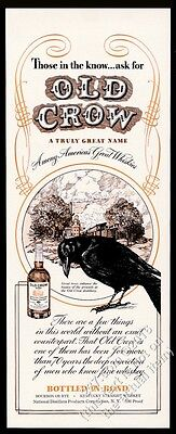 1941 Old Crow Bourbon Whiskey black bird and distillery art vintage print ad