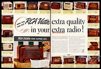 1941 RCA Victor Super Six radio 20 models color photos & prices vintage print ad