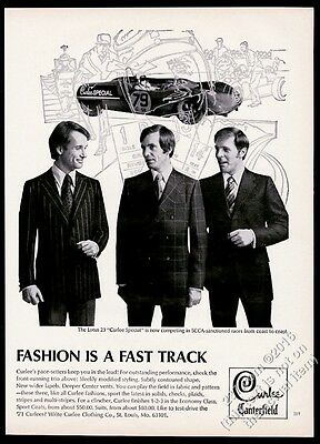 1970 Lotus 23 Curlee Special race car photo Curlee men's suit vintage print ad