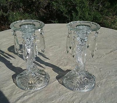 Pair Of Antique Glass Mantle Lustres